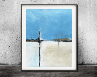 Printable art blue sand wall decor print instant download art abstract landscape painting art line modern interior design artwork home decor
