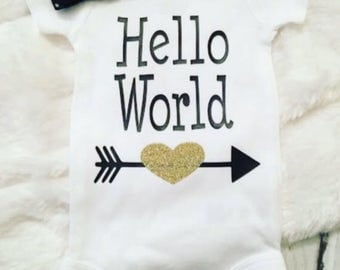 Hello World Infant Baby Girl Onesie Bodysuit Short Sleeve Long Sleeve Toddler Tee