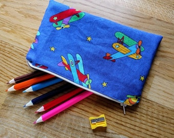 Aeroplane pencil case, fully lined. With optional colouring pages, gift, present, stocking filler