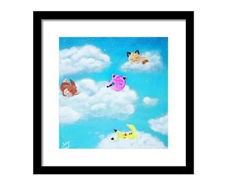 Digital copy)Nap in the clouds Pokemon Painting Pokemon Art