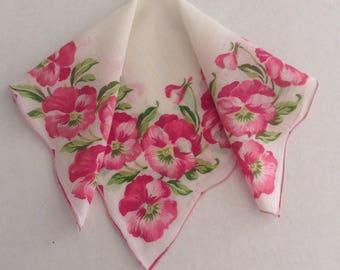 Vintage Handkerchief / Pink Pansies