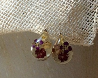 Earrings silver and resin