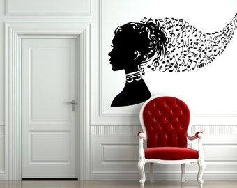 Music notes and symbols head vinyl wall decal a56
