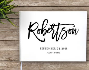 Wedding Guest Book with Brush Script Calligraphy, Custom Guest Book, Personalized Guest Book, modern guest book, hipster wedding