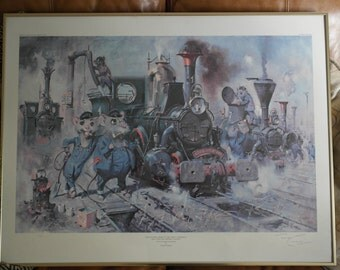 Signed Print by Terence Cuneo 'The Running Sheds Of The Great Caerphilly and Vole-Tail Central Railway' 1973. 137/850