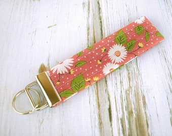 Quilted Fabric Key Fob, Key Chain, Key Holder -  Pink Sunflower