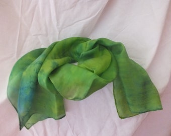 Hand painted silk scarf in greens