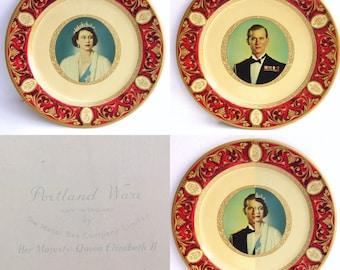 Portland Ware Commemorative Coronation Plates - 1950s - Queen Elizabeth