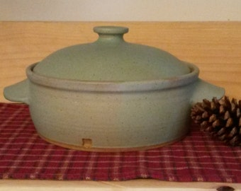 Hand thrown stoneware icy turquoise satin matte casserole, pottery casserole,  pottery bakeware, pottery cookware, casserole