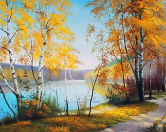 """Sunlit Maple Trail - Original Handmade Painting / Gallery Wrapped / 63""""x 35"""""""