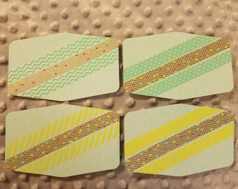 Set of 4 coordinating washi tape flat note cards with matching envelopes- teal bronze