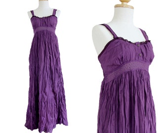 Women Purple Long Cotton Dress - Lace Strap Dress - Purple Maxi Dress - Maternity Smocked Maxi Dress - Summer Beach Wedding Dress - LD007