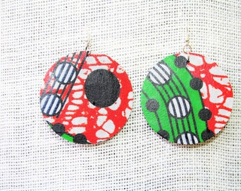 Round Ankara African Fabric Earrings