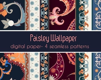 Boho pattern, Paisley seamless, Repeatable pattern, Seamless pattern, Printable pattern, Printable art, Ethnic pattern, Wrapping paper