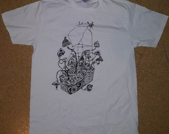 Psychedelic Mushroom Growbox T-Shirt / Hand-screenprinted / Trippy / Goa / Size L and M / White / black green blue print