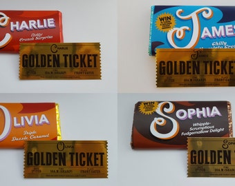 Fully personalised Willy Wonka Chocolate Bar Wrapper and Golden Ticket