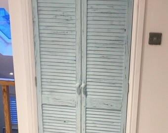 Distressed shutter doors. Rustic louvre doors. Shabby-chic shutters made to size.