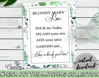 Bloody Mary Bridal Shower Bloody Mary Botanic Watercolor Bridal Shower Bloody Mary Bridal Shower Botanic Watercolor Bloody Mary Green 1LIZN