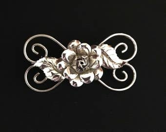 "Vintage Sterling Silver Rose Brooch, 2"" Long x 1"" Wide, (7.65 Grams)"