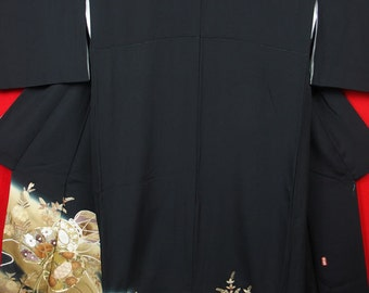 "JN44【Free Shipping】Vintage Japanese Kimono / ""TOMESODE Black"" for Women / Included Sign and seal / Japanese drum pattern / Silk"