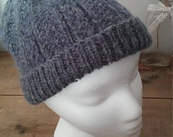 Tuque/bonnet, tricot bonnet, laine fait main, bonnet gris