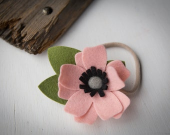 READY TO SHIP///Rose Pink Felt Flower Headband