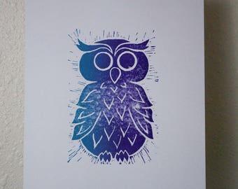 "Owl - Hand Pulled Linoleum Block Print 8""x10"""