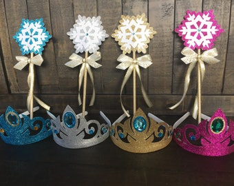 Frozen inspired birthday party princess crowns or tiaras, Frozen Party Favors,  Elsa Anna tiara, Frozen crown wands, set of 4 crowns wands