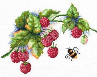 Cross stitch pattern PDF raspberries, Cross stitch pattern PDF berries, Cross stitch pattern PDF bee