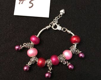 Spring Time Bracelets, made with Silver Pearl Big Hole Color Beads.
