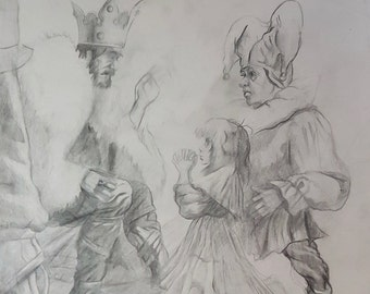 The king and a fool - pencil painting