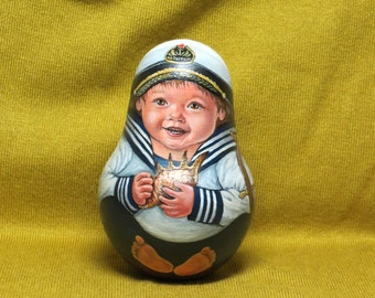 """Russian doll matryoshka Roly Poly """"Little captain"""" Original Hand Painted"""