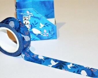 Japanese Birds and Flowers Blue Washi Tape. Scrapbook. Stationery Masking Tape.