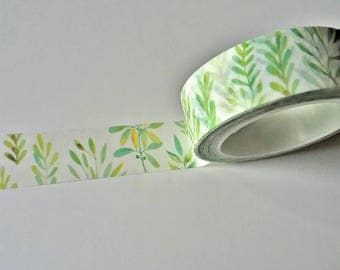 Wild Green Leaves Japanese Washi Tape. Scrapbook and Stationery Tape. Pretty Tape.