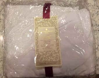 Vintage Victoria's Secret White Cluny Lace Queen Size Duvet Cover - New in Package