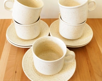 Five Speckled Cream Churchill Homespun teacups or mugs Stoneware