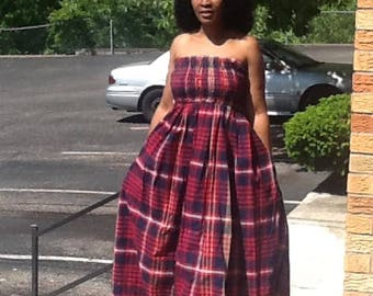 African Tube maxi dress. African print tube maxi dress