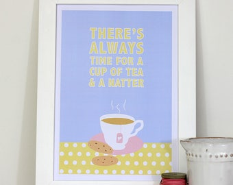 A4 framed kitchen wall print - There's always time for a cup of tea & a natter