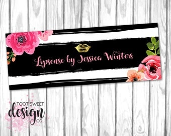 Custom Lipsense Facebook Cover Photo, Lipsense by SeneGence Marketing Kit, Consultant FB Shop Cover, Floral Stripe, DIGITAL FILE For Web