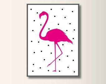 Flamingo, print art, kids art, kids wall art, nursery decor, Kidsroom Kunst.Minimalistischen pressure, minimal print
