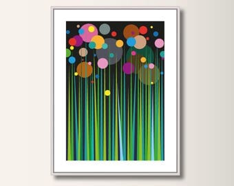 Fairy tale forest, geometric print, abstract, geometric, minimalistic Scandinavian pressure pressure, abstract posters, minimal print