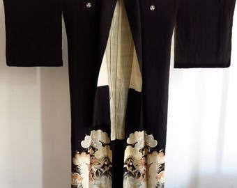 Kimono silk silk from Japan 1920〜 silk Art Deco antique kimono