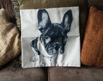 Cute Dog or Rooster  Cotton Linen Cushion Cover