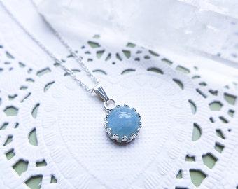 Genuine Aquamarine Necklace, AAA grade Non-Treated gemstone, aquamarine pendant necklace, blue jewelry, girlfriend gift, march birthstone