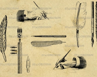 Digital SVG PNG JPG Old Style Pens, writing, quill, feather, ink, nib, vector, clipart, silhouette, instant download