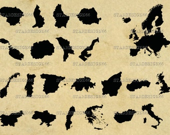 Digital SVG PNG JPG European Countries, maps, borders, vector, clipart, silhouette, instant download
