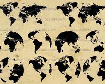 Digital SVG PNG JPG World map, globe, clipart, vector, silhouette, instant download