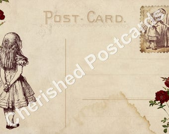 Wedding Place Cards Vintage Alice in Wonderland (Alice) Postcard Tent Style Place Cards or Table Place Cards #026
