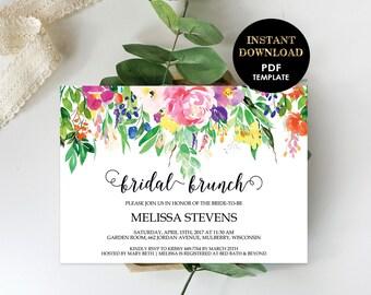 Floral Bridal Brunch Invitation, Printable Editable Template (Melissa), Bridal Shower Invite, Instant Download, Editable Text, Pink Flowers