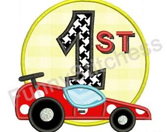 Race Car Applique Design Car 1st Birthday Party Applique Boys Applique -4x4 5x7 6x10-Machine Embroidery Applique Design